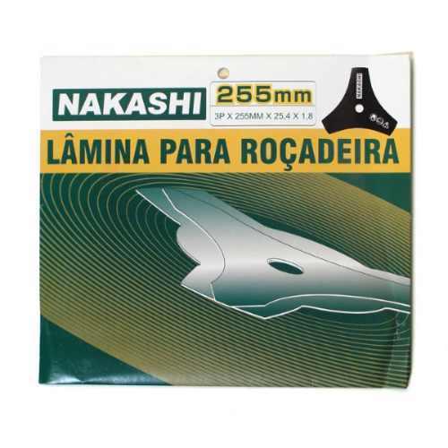 Lamina Faca 3 Ponta Roçadeira 255 x 25,5 x 1,4 mm Nakashi