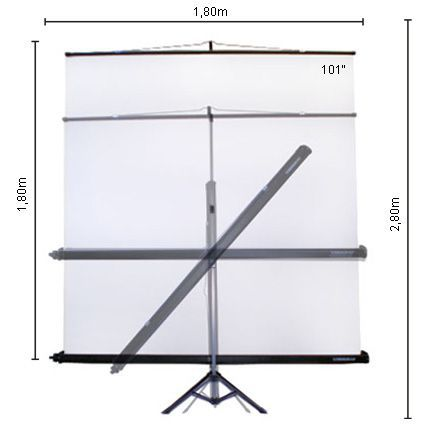 Tela de Projeção Retrátil C/Tripé e Estojo 1,8x1,8m - TLRT180 Visograf