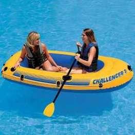 Bote Inflavel Challenger 2 236x114cm  2 a 3 pessoas ou 170kg  Intex +  Par de Remo e Fole - Intex