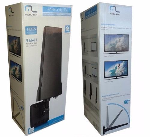 Antena Digital Amplificad TV 4 em 1 Interna re204 Multilaser