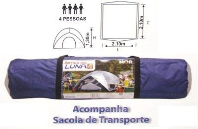 Barraca Luna 4P + Sobreteto + Lanterna 9 Leds