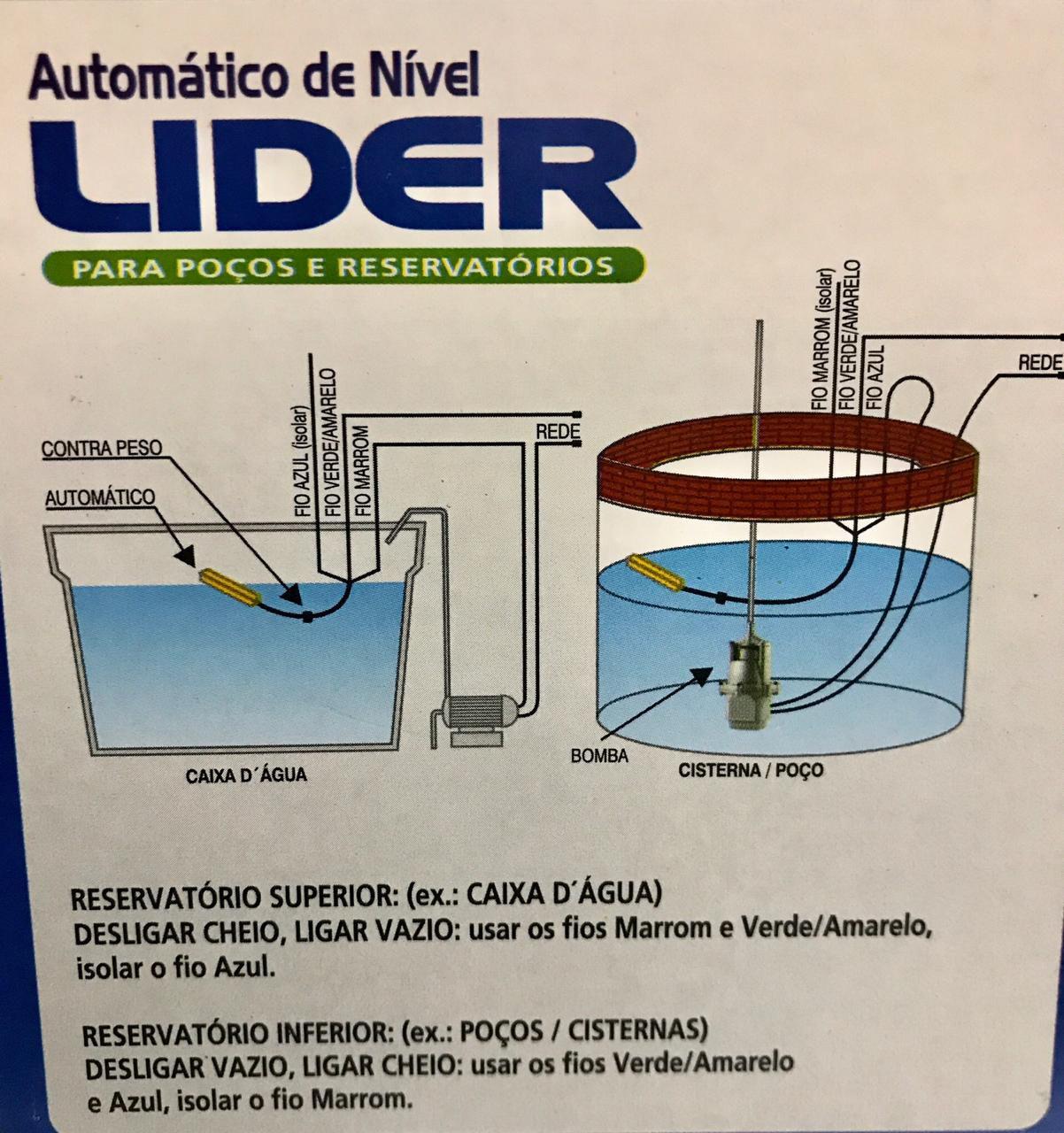 Boia de Nivel Submersa Automatica 25a Bivolt - ra25bl Lider