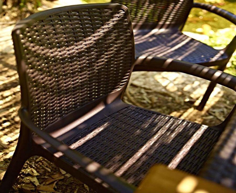 Kit 4 Cadeiras Bali Rattan Cinza Luxo 160 Kg  Keter