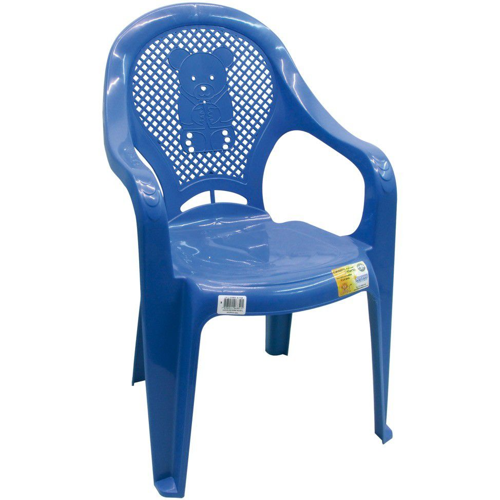Cadeira Plastica C/ Braco Azul Infantil Antares