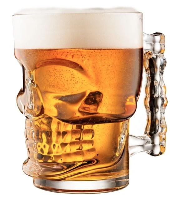 Caneca Copo Vidro Chopp Cerveja Caveira 540ml Vitrizi