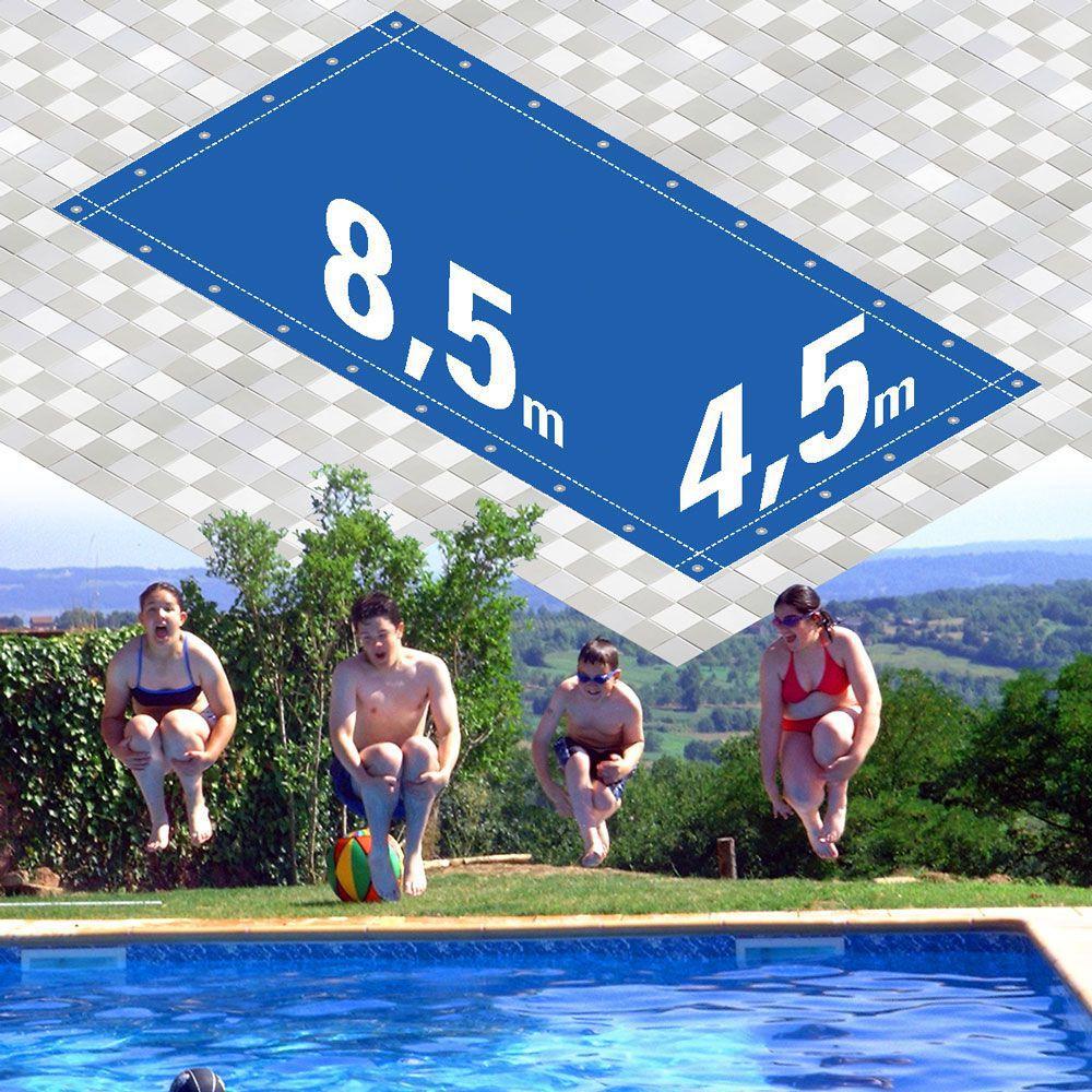 Capa Piscina 4,5x8,5 m Dreno 28 Pinos 300 Micra  CapaKit