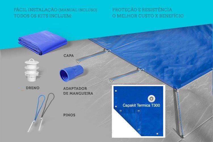 Capa Piscina Termica 3,5x6,5 Dreno 44 Pinos T300 CapaKit
