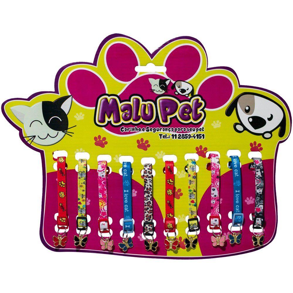 Coleira Elastica P/Gatos C/Pingente Borboleta Pet Ct/10