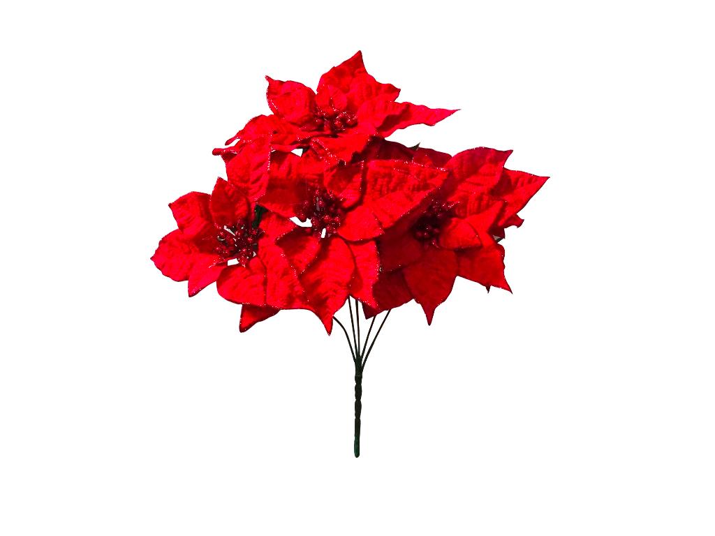 Enfeite Bouquet Bico Papagaio Glitter 6F/30CM Verm. - Magizi