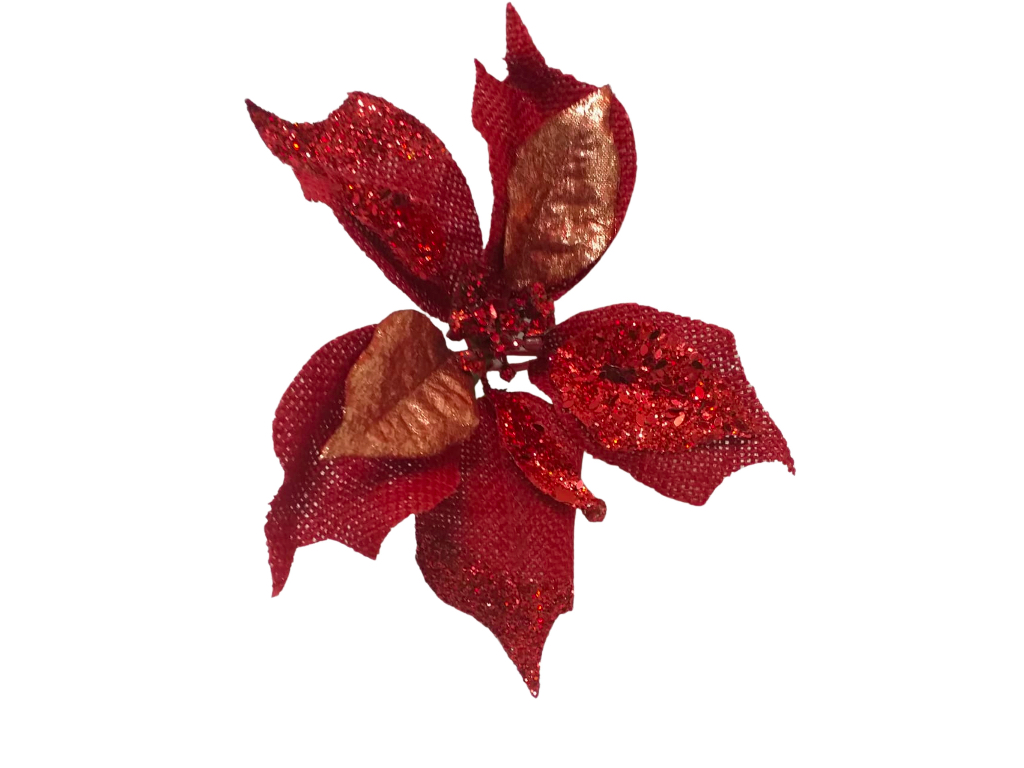 Enfeite Flor Bico Papagaio P. Tela GD. 25cm Vermelho - Magizi