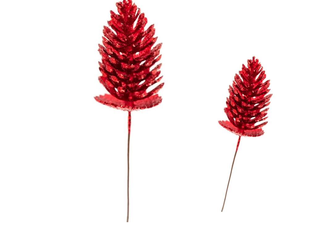 Enfeite Haste Pinha Glitter 40CM Vermelha - Magizi