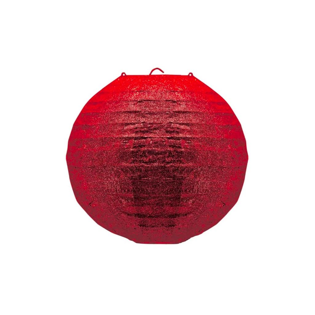 Enfeite Lanterna Oriental Glitter Vermelha 30CM - Magizi