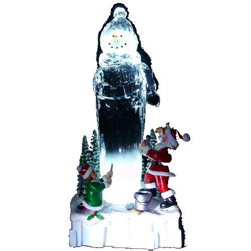 Enfeite Natal Boneco Cristal Acrílico 21cm Iluminação - Natalia Christmas
