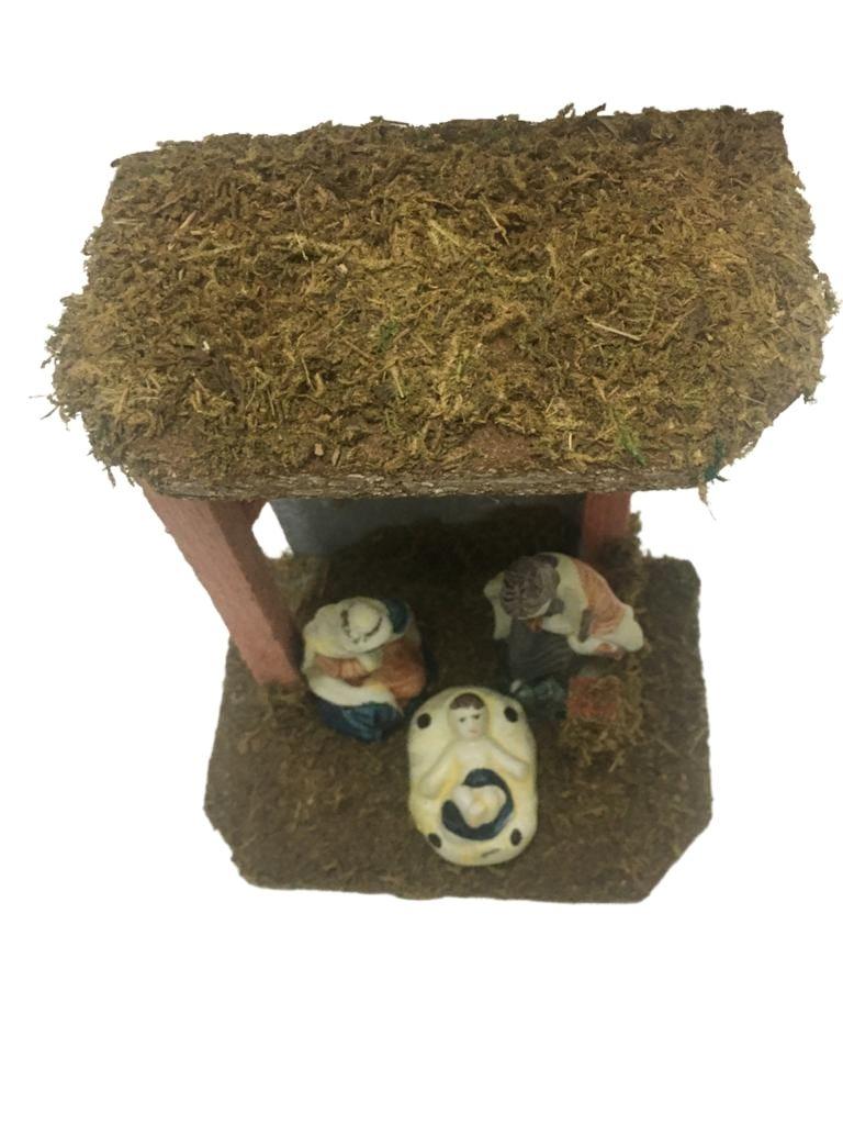 Enfeite Natal Presepio Casa 16cm c/ 3 Figuras Louça Magizi