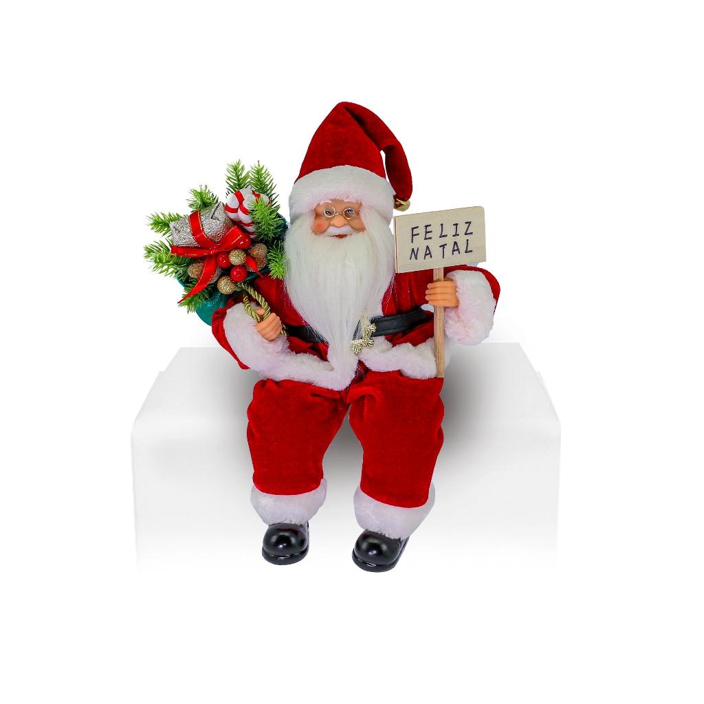 Enfeite Papai Noel Repetidor 30cm c/ Movimentos Magizi