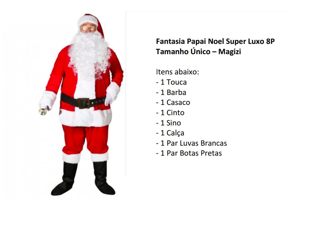 Fantasia Natal Papai Noel Super Luxo 8 Peças GG Magizi