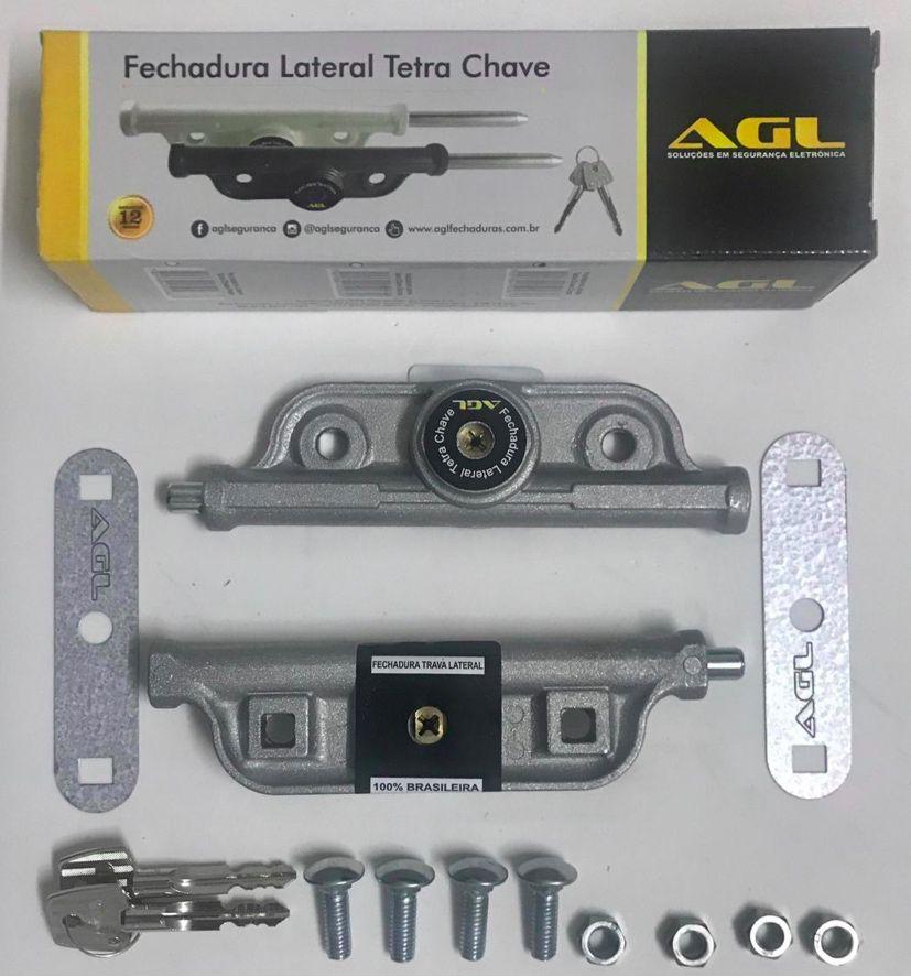 Fechadura Lateral dupla Trava Porta Aço Tetra chave Agl