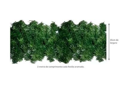 Festão Aramado Verde 2 Metros X 35cm 130 Galhos Magizi 13858