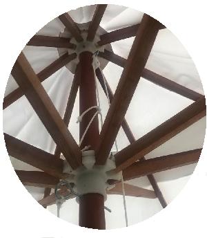 Guarda sol Ombrelone 2,4m Madeira 8 varas  Branco Yankee