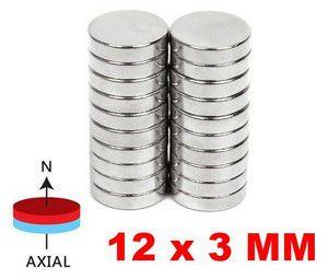 Imãs de Neodímio 12x3mm c/ 10 Unidades
