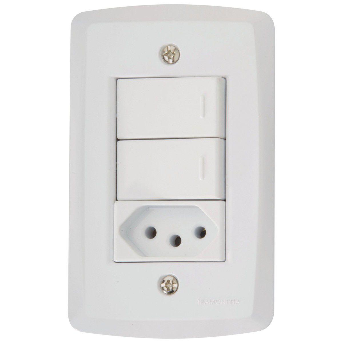 Interruptor Duplo C/Tomada 10A Lux2 Tramontina Cx/10