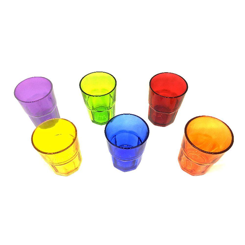 Jogo Copo Vidro Atos 300 Ml Color Com 6 un 16166 Vitrizi