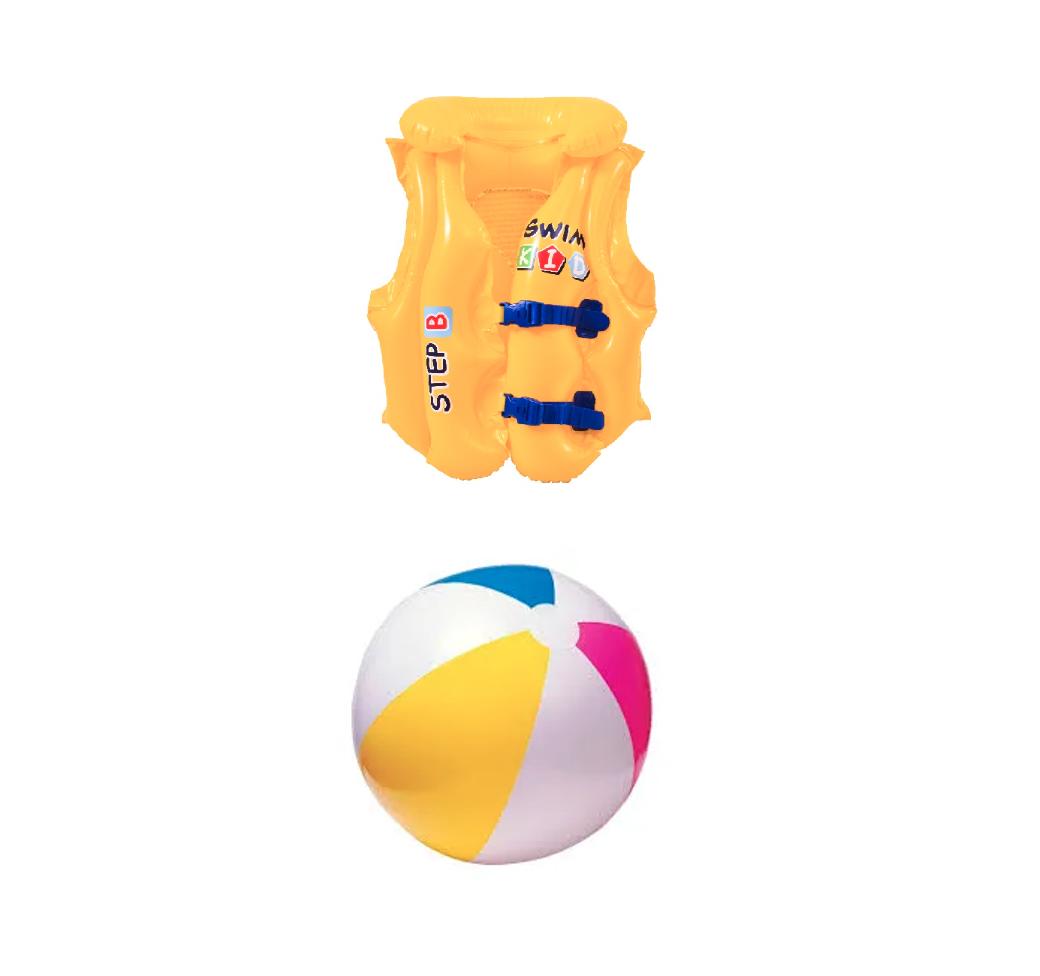 Kit 1 Bola De Praia 61cm Intex + 1 Colete Inflável 30kg Briz