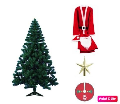 Kit 4 Itens de Natal Arvore + Forro + Fantasia + Ponteira
