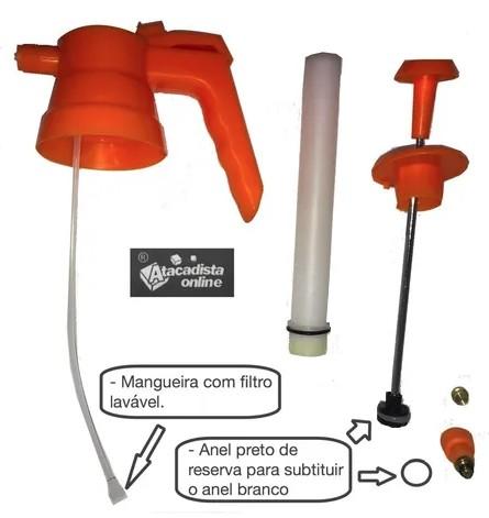 kit 5 Pulverizador Pressão 1,5 L Bico Latão Reg Borrif. Rino