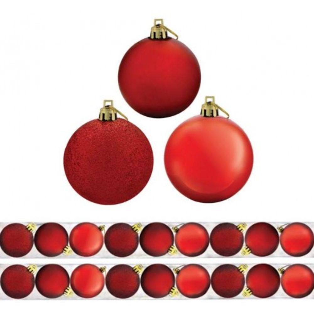 Kit 9 Bolas de Natal Mista 6cm Vermelha Magizi