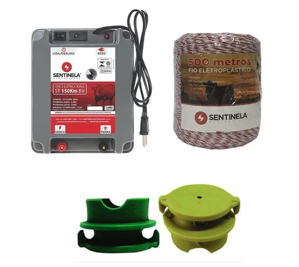 Kit Eletrificador 150Km + 500m Fio 100 Isolador Sentinela
