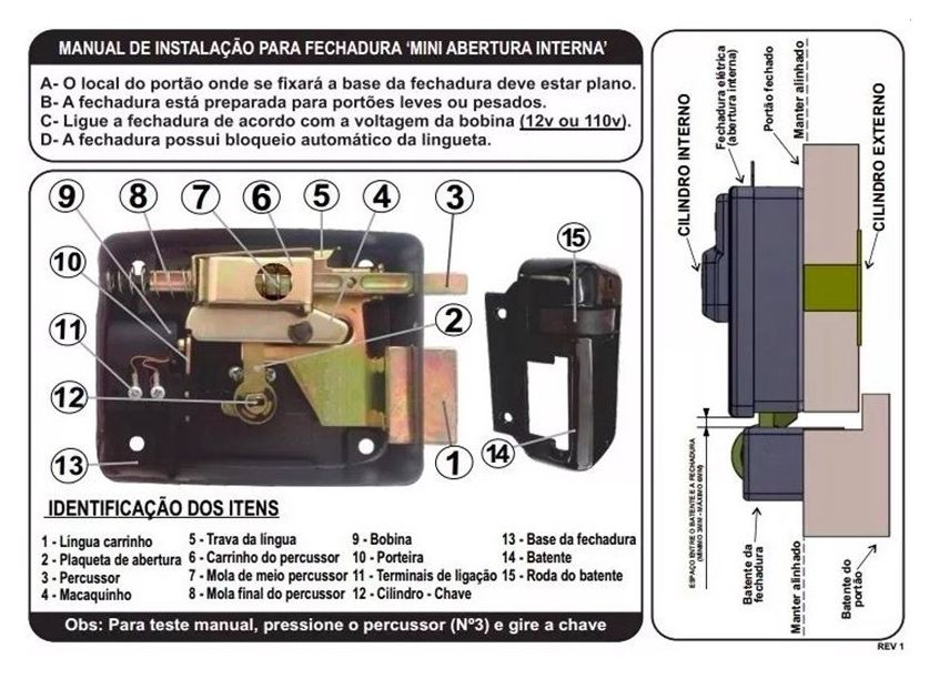 Kit Interfone, Monofone e Fechadura Elétrica Agl Mini