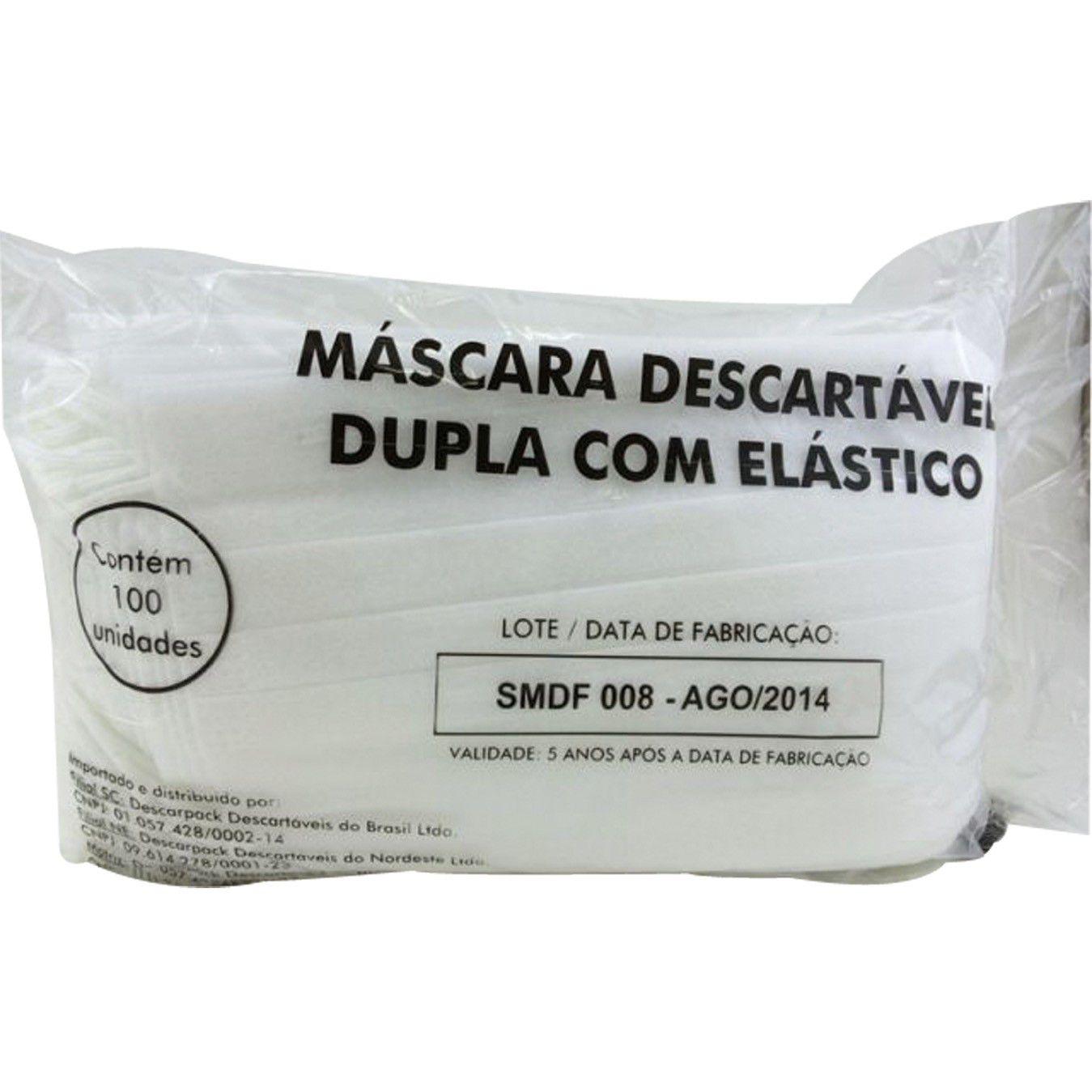 Mascara Descartavel Dupla C/Elastico Descarpack Pt/100