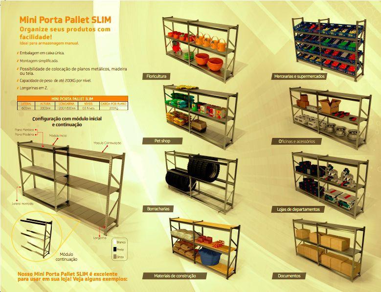 Estante Porta Pallet  Slim 200 cm Continuação s/ Plano  Sa
