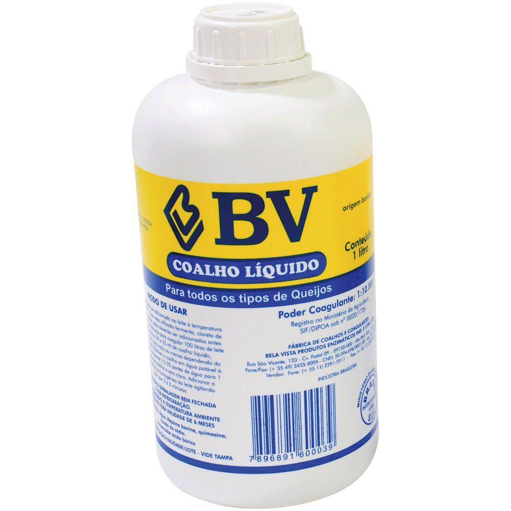 Pepsina Coalho Liquida Bv 1 Litro 1X10.000 Bela Vista