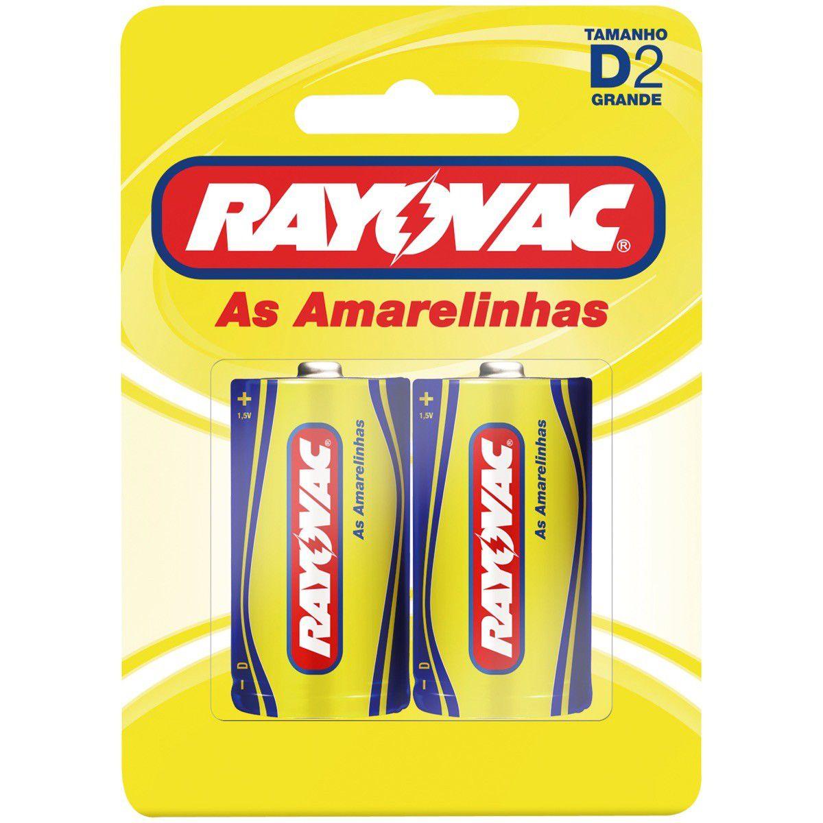 Pilha Rayovac Amarela/Azul Grande Cartela Com 2