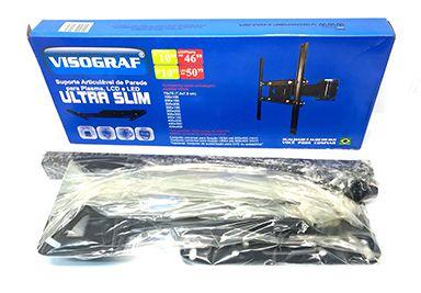 Suporte TV  Artuculado Ultra Forte Slim Até 50Kg - Visograf