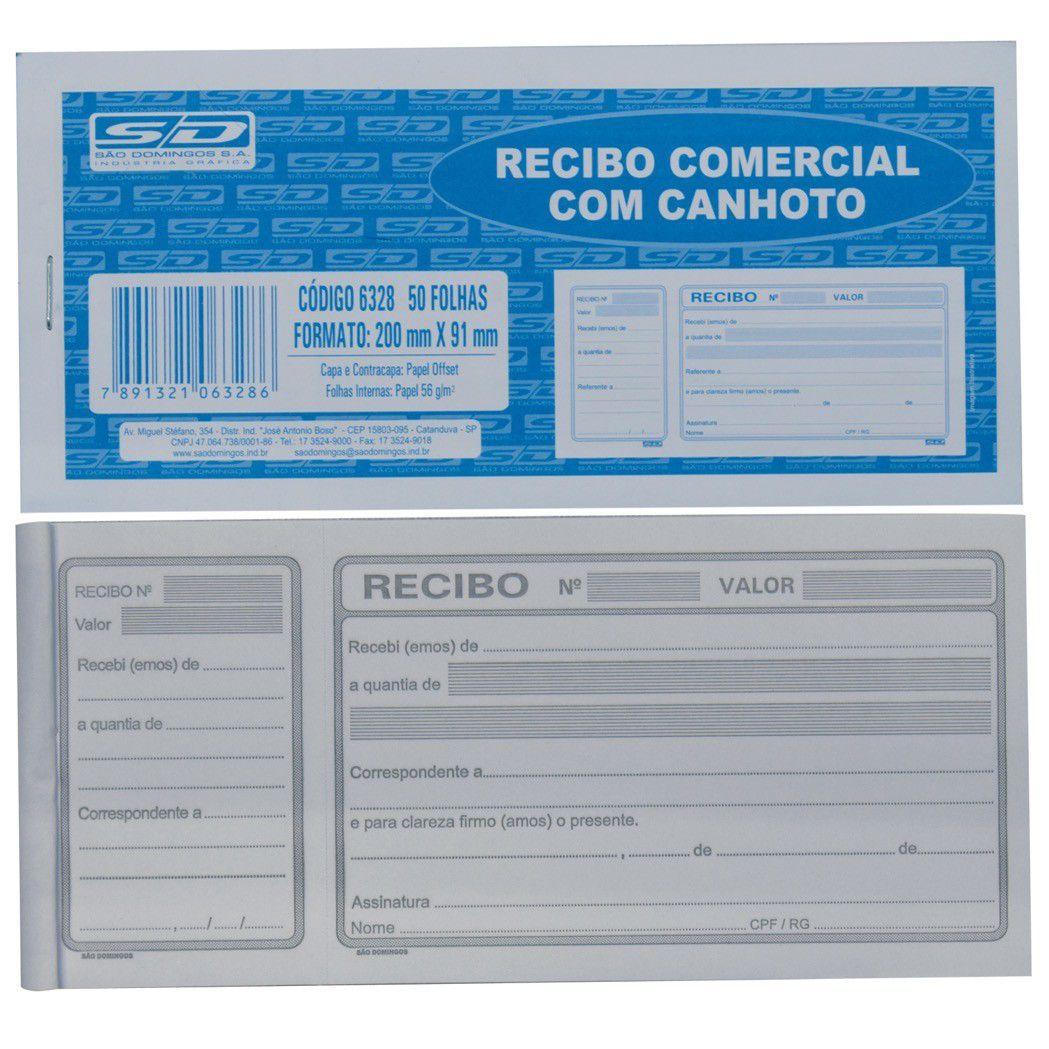 Talao Recibo Comercial Com Canhoto 50Folhas Pt/20
