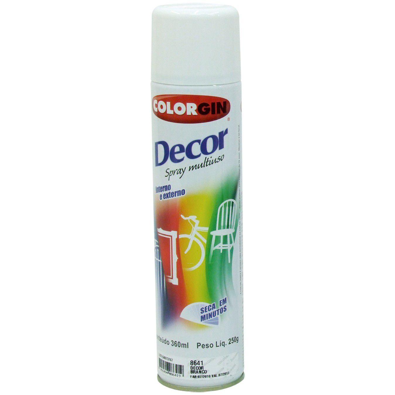 Tinta Spray Colorgin Decor Branco 360Ml #A Ref 864 com 6 un.