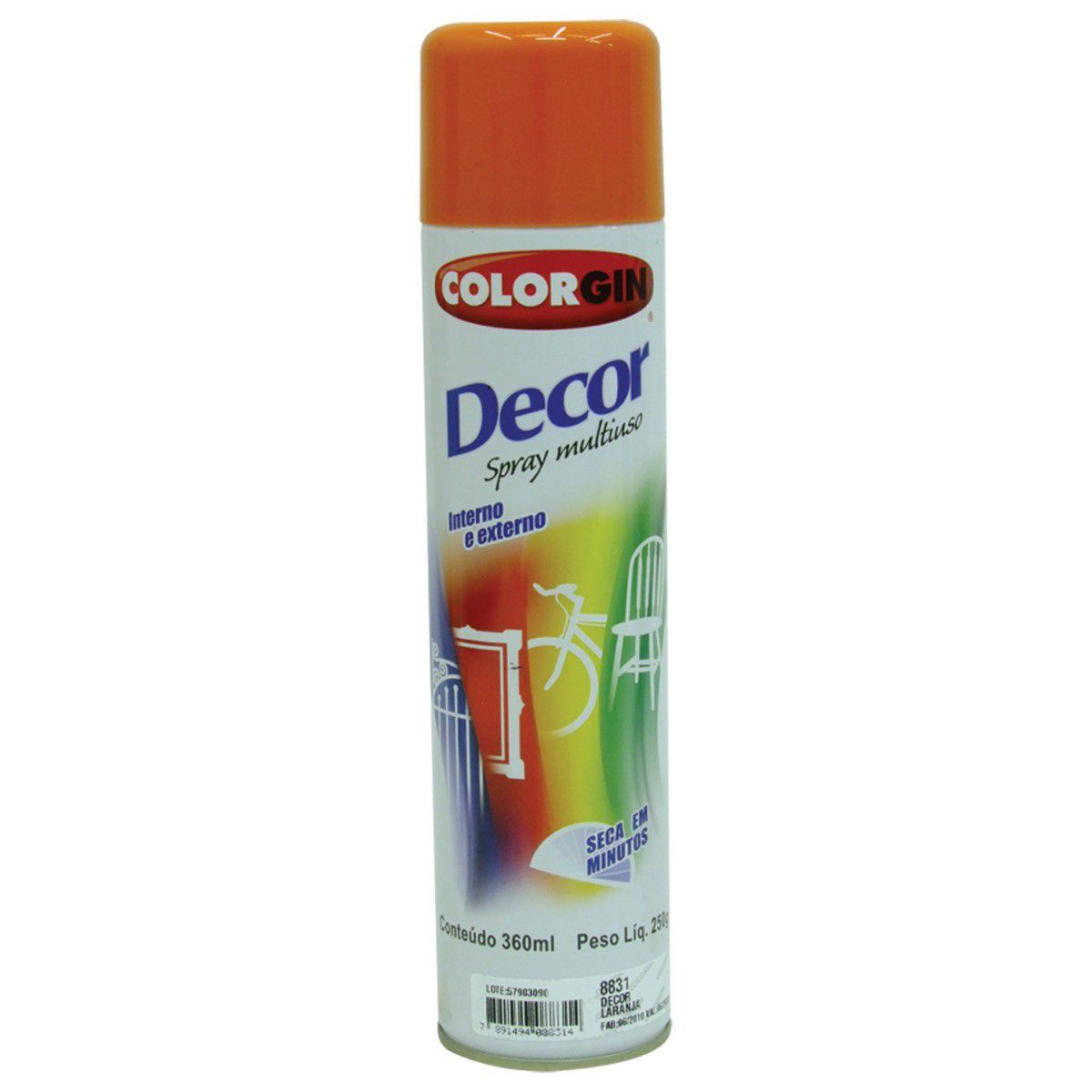 Tinta Spray Colorgin Decor Laranja 360Ml #A Cx/6