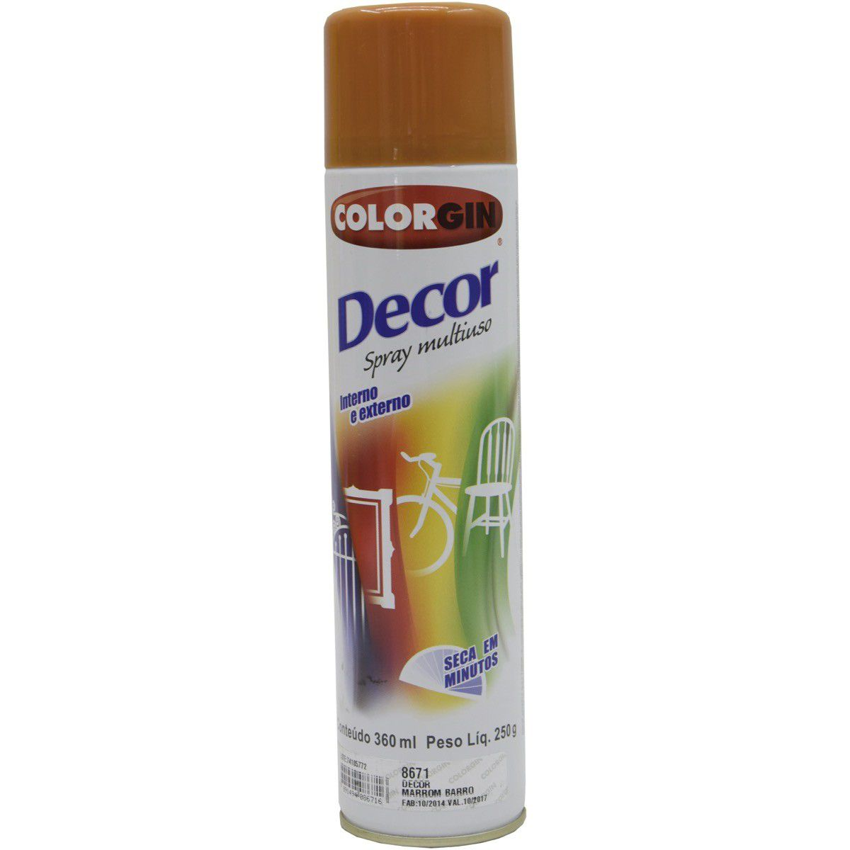 Tinta Spray Colorgin Decor Marrom Barroco 360Ml #A Cx/6