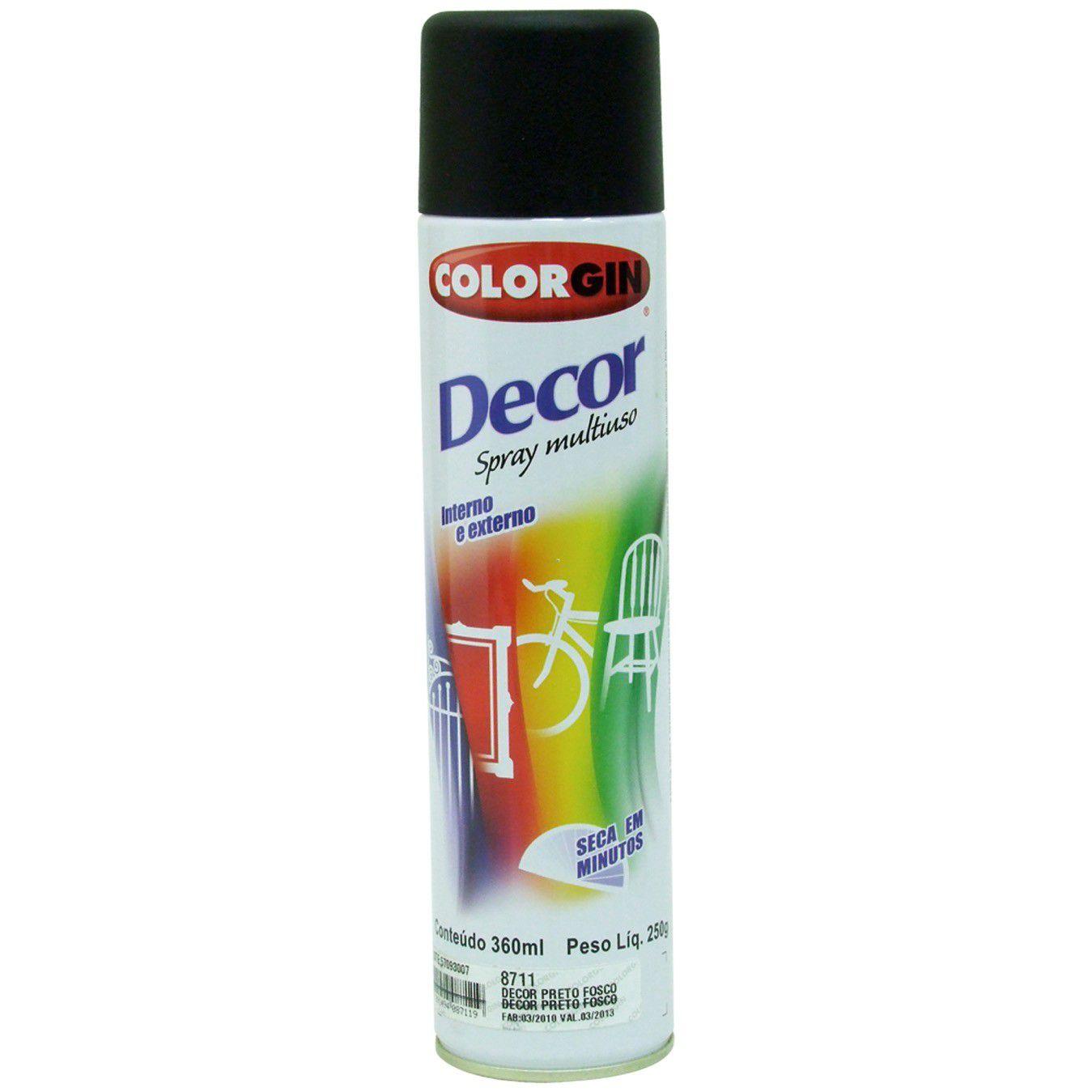 Tinta Spray Colorgin Decor Preto Fosco 360Ml #A Cx/6