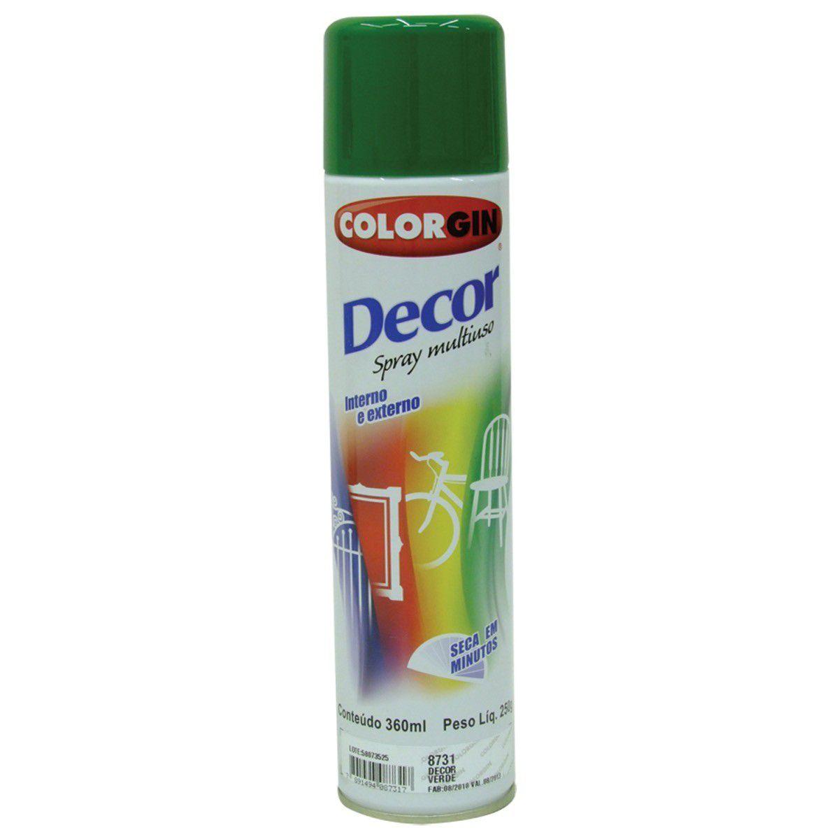 Tinta Spray Colorgin Decor Verde 360Ml #A Cx/6