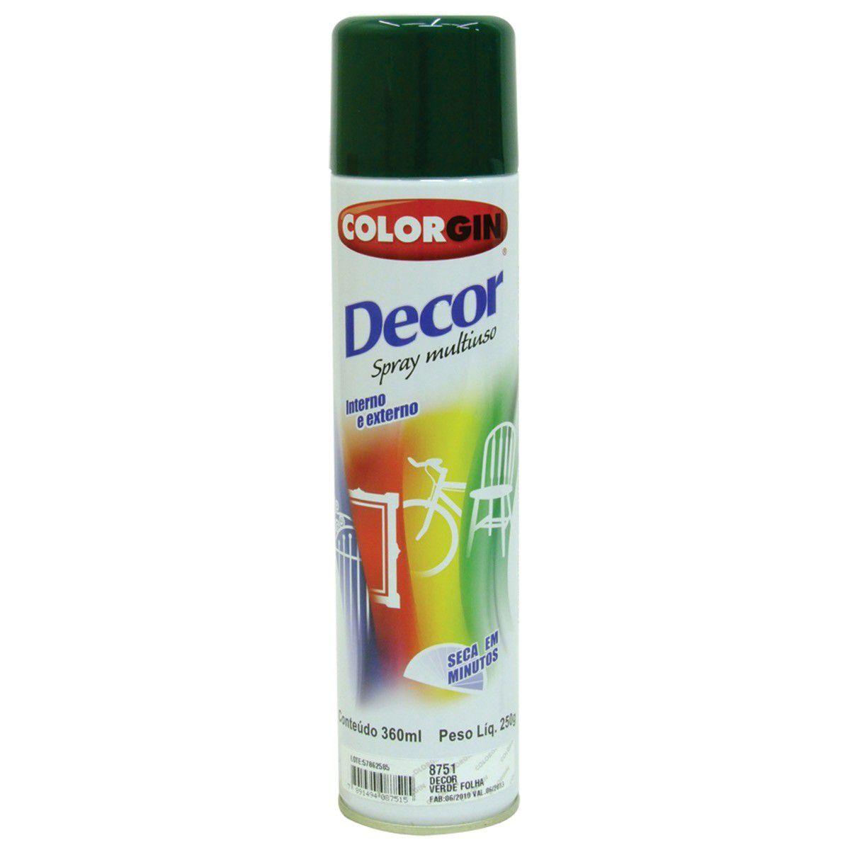 Tinta Spray Colorgin Decor Verde Folha 360Ml #A Cx/6
