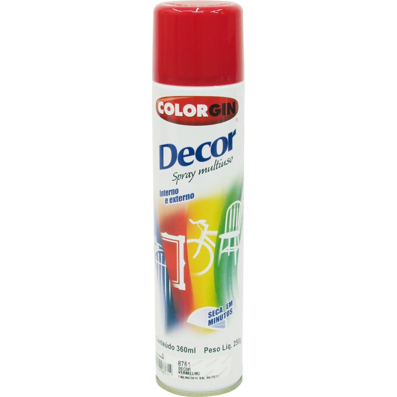 Tinta Spray Colorgin Decor Vermelho 360Ml #A Cx/6