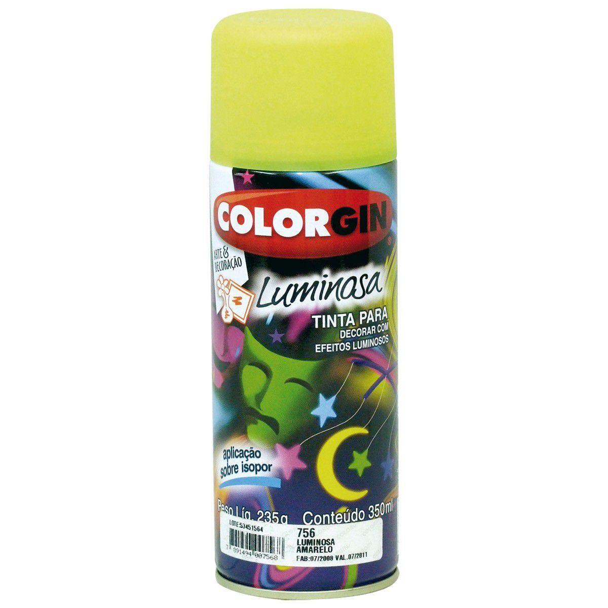 Tinta Spray Colorgin Luminosa Amarelo 350Ml #A