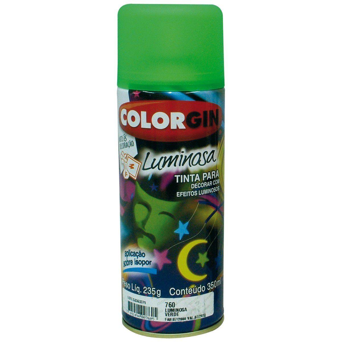 Tinta Spray Colorgin Luminosa Verde 350Ml #A