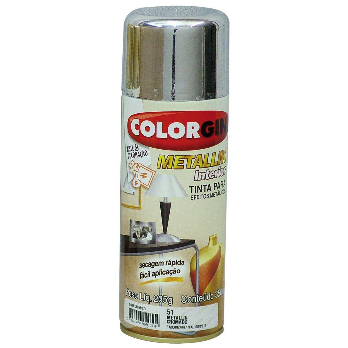 Tinta Spray Colorgin Metalico Cromado 350Ml #A