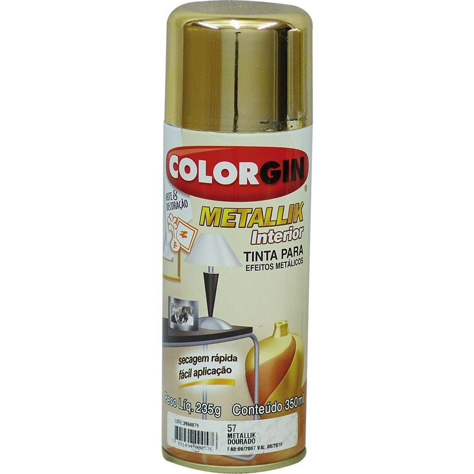 Tinta Spray Colorgin Metalico Dourado 350Ml #A