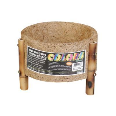 Vaso cachepot coco e bambu 21x11cm